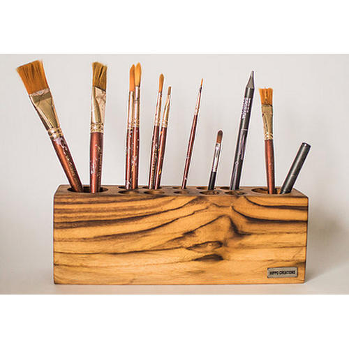 Natural Wood Color Wooden Pencil And Paint Brush Holder