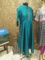 Silk Party Wear Ladies Kurti, Size: XL, Wash Care: Dry clean
