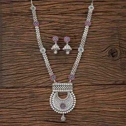 古董磨砂铑镀长项链202888,尺寸:长度= 18英寸