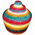 Multicolor Handwoven Moonj Pot
