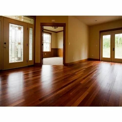 Brown Residential Building Wooden Flooring Designing Service