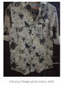 Ink Blue Flower Print Mens Shirt