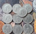 10 Coins Lot - 50 Paise (jawaharlal Nehru - English Legend) 1964 Commemorative: Death Of Jawaharlal