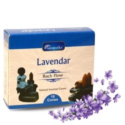Aromatika Lavendar Backflow Natural Incense 120 Cones in Box of 12 Packs