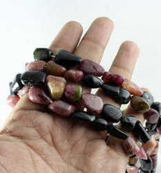 Multi Tourmaline Unshaped Plain Nugget Beads