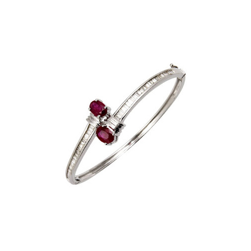 Baguette Diamonds And Ruby Bangle Bracelet