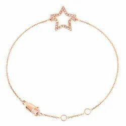 Rose Gold Diamond Star Charm Bracelet