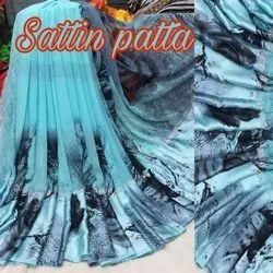 Printed Satin Patta Saree