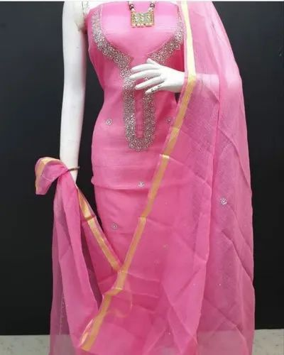 Pink Gota Patti Suit Dress Material