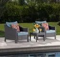 Rattan Wicker Bistro Set Outdoor Coffee Chair and Table Set