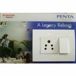 Plastic White Anchor Modular Switches, Model Name/Number: Penta Modular, Switch Size: 1 Module