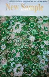 Net Emb Flower Jari Dyed Fabric