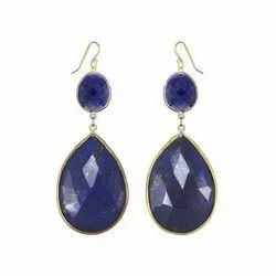 Large Faceted Lapis Bezel Set Earrings