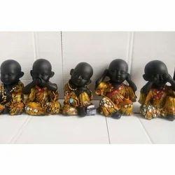 Polyresin Black Monk Kids Statue