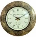 Pushpam Arts Brass Finish Antique Metal Wall Clocks, For Home
