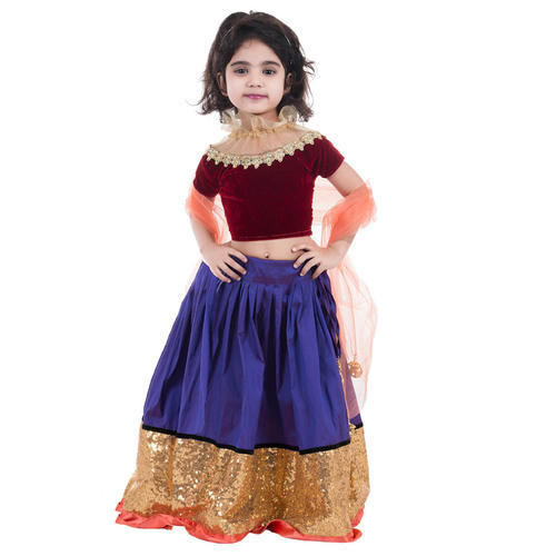 bd3a659df Blue marun Chanderi Lehenga Choli For Kids