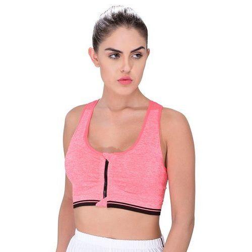 5a29c1c8efe16 Pink Cotton Spandex Orange Women Sports Bra