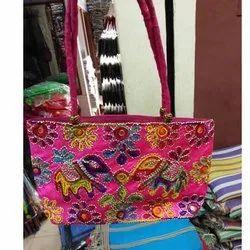 Cotton Casual Wear Ladies Embroidered Handbag
