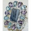 Multi Color Mix 925 Sterling Silver High Furnished Rings