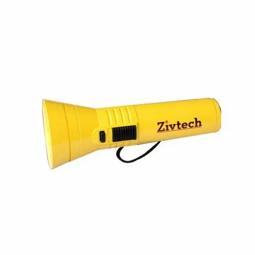 Stainless Steel Yellow Battery Torch