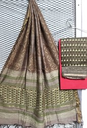Chanderi Silk Unstitched Salwar Suit Set