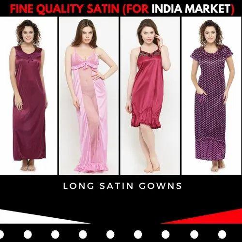 fcd0237149f28 Many N-Gal Women Long Gown Nighty Satin Nightwear, Adults ,Size: Free