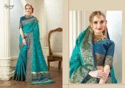 Blue color fancy cotton zari saree