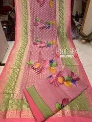Unstitch AWC Pure Crepe Suits With Handprint Banarsi Dupatta