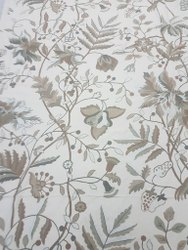 Cotton Duck Hand Embroidered Curtain Fabric