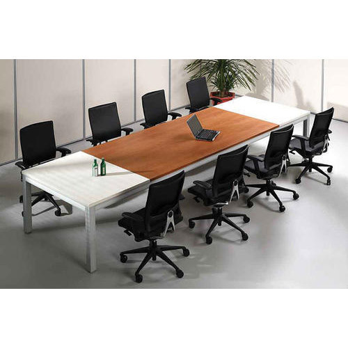 Brown And White Metal Modern Conference Room Table Size 10 Feet