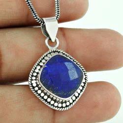 Heaven Blue Lapis Gemstone 925 Silver Pendant