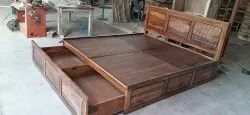 SOLID WOOD SHEESHAM Modern Wooden Double Bed, For Home, Size: 78x72 Inch