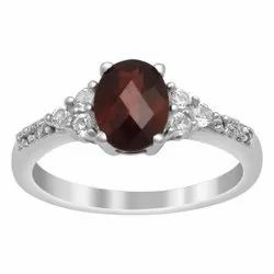 Solitaire Accents 1.50 Ctw Oval Cut Garnet Gemstone 925 Sterling Silver Ring