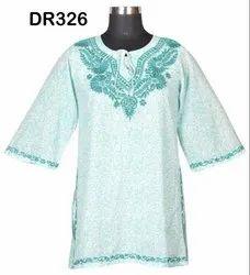 Cotton Hand Block Print Hand Embroidery Women's Short Tops Kurti Dr326