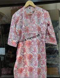 Indian Cotton Fabric Block Print Designer Kurtis