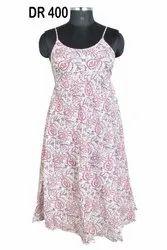 Cotton Hand Block Print Sleepwear Women's Long Spaghetti Dress DR400