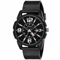Jainx Black Mesh Band Day and Date Functioning Analog Watch for Men's - JM365