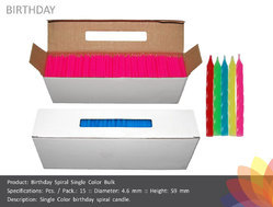 Single Color Twisted Birthday Candle Bulk Pack