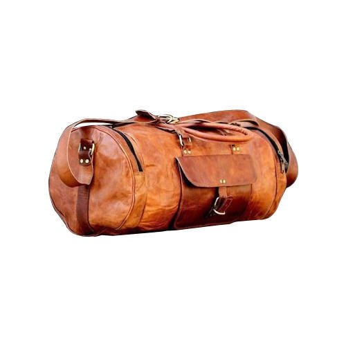 KRISH Handcrafted 24 Real Brown Leather Duffle Hold-All Bag Weekend Travel Luggage