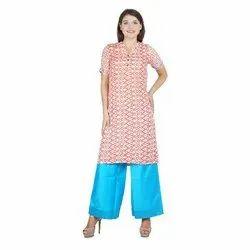 Half Sleeve M-XXL Ladies Designer Rayon Kurti