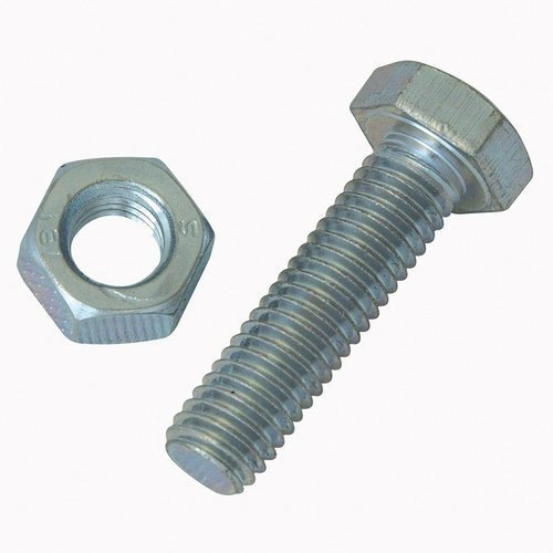 Hex Mild ms Hexagonal Nut And Bolt, Size: M20