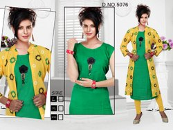 Rayon Plain Kurti with Long Printed Koti