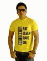 Printed Men Bakchod Billi Eat Sleep Rave Die Boys Yellow T-shirts, Size: Xl And L