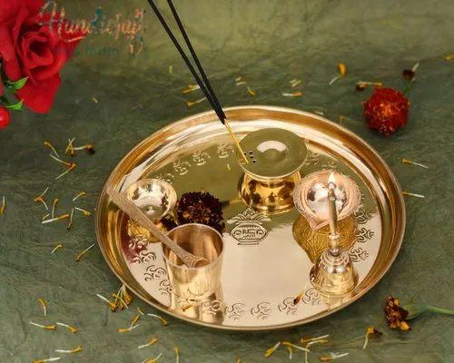 HHIGS005 HHI German Silver Set of 7 Pcs Pooja Thali Set