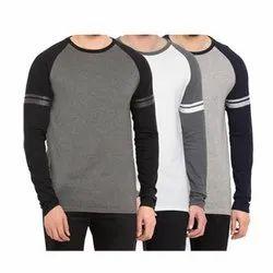 Round Neck Full Sleeve Gray T Shirt
