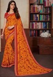 Golden Orange Georgette Saree with Double Blouse