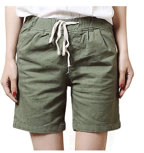 48ef9fa412 Women' s Modest Loose Elastic-waisted Bermuda Drawstring Casual Shorts
