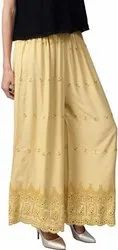 Regular Fit Women's Chikan Embroidery Palazzo Pants Women