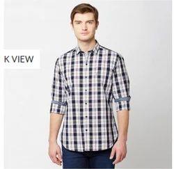 Brown 07B Indigo Checks Full Sleeve Trim Fit Shirt