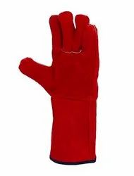 Red Leather Industrial Hand Gloves
